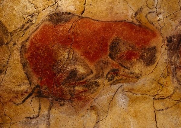 Fotografía de un bisonte recostado de la cueva de Altamira