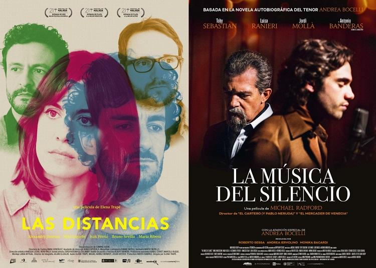 Carteles de las películas Las Distancias y La Música del Silencio