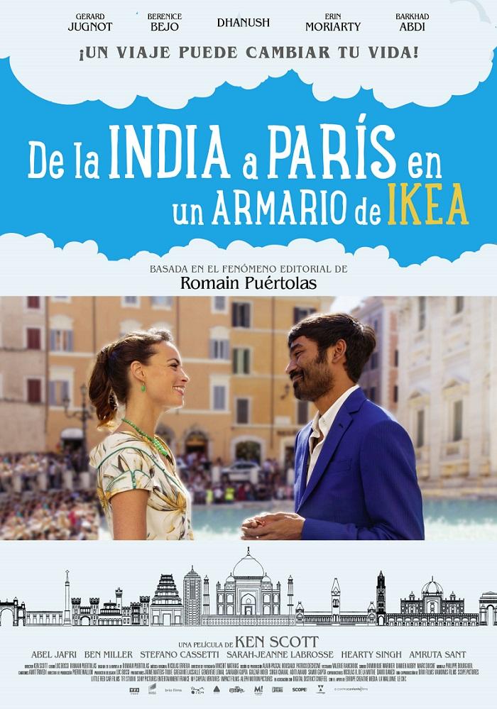 Carteñ de la película De la INdia a París en un armario de Ikea.